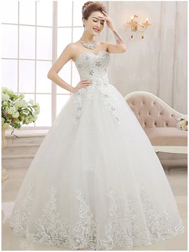 Stunning Beaded Sweetheart Plus Size Ball Gown Wedding Dress