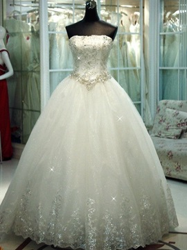 Beautiful Crystal Beaded Ball Gown Wedding Dress
