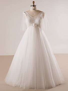 V Neck Half Sleeves Flowers A Line Wedding Dress