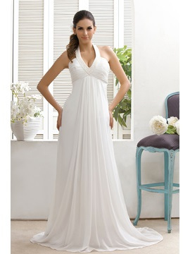 Plain Empire Court Train Halter Top Taline's Wedding Dress