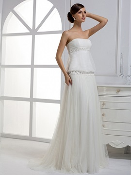 Awesome Column Pleat Strapless Floor-length Court Train Wedding Dress