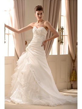 Gorgeous Beaded Sweetheart Ruffles A-Line Wedding Dress