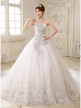 Deluxe Rhinestone Beaded Sweetheart Lace Trimmed Ball Gown Wedding Dress