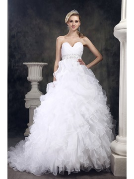 Fantastic Sweetheart Beaded Waist Ruffling Organza A-Line Wedding Dress