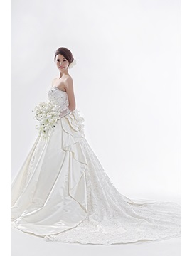 Gorgeous A-line Strapless Watteau Train Wedding Dress