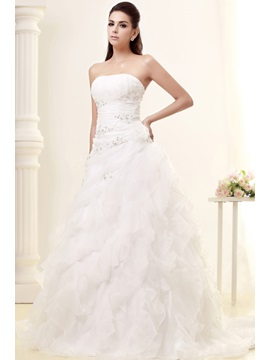 Amazing A-line Strapless Chapel Tiered Floor-length Taline's Wedding Dress
