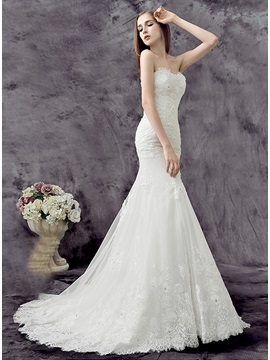 Strapless heart Floor Length Ivory Mermaid Lace Wedding Dress
