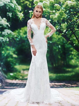 Charming V Neck Long Sleeves Appliques Lace Mermaid Wedding Dress