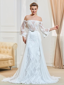 Elegant Off The Shoulder A Line Lace Wedding Dress