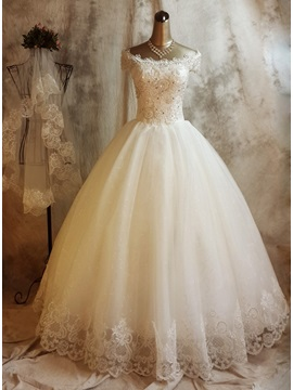 Lace Appliques Off-The-Shoulder Ball Gown Wedding Dress