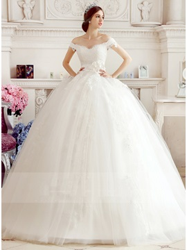 Off the Shoulder Lace Ball Gown Wedding Dress