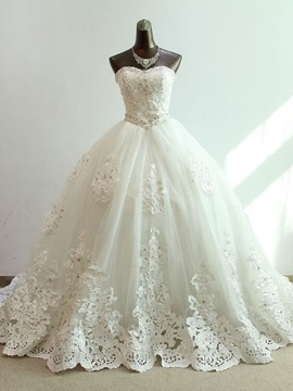 Floor Length Ball Gown Beaded Sweetheart Princess Wedding Dress
