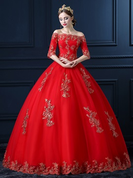Floor Length Ball Gown Half Sleeve Beaded Lace Off the Shoulder Wedding Dress