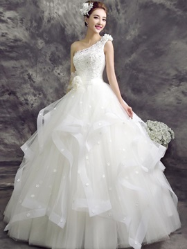 Beaded Lace Floral One Shoulder Ball Gown Wedding Dress