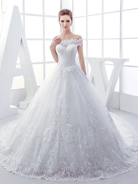 Lace Off the Shoulder Ball Gown Wedding Dress