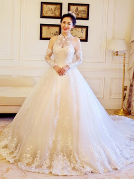 Beautiful Appliques Beaded High Neck Ball Gown Wedding Dress