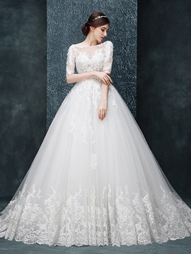 Charming Illusion Neckline Ball Gown Wedding Dress With Sleeves