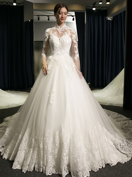 High Quality Appliques Ball Gown Long Sleeves Wedding Dress