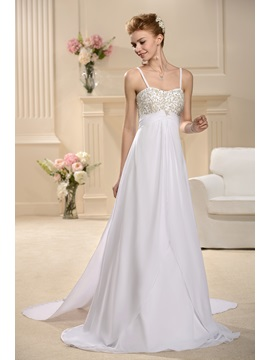 A-Line Empire Spaghetti Straps Sweep Wedding Dress