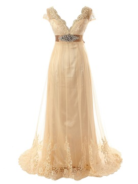 V-Neck Empire Waist Cap Sleeve Beading Lace Wedding Dress