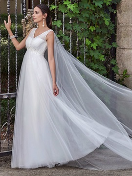 Charming V Neck Empire A Line Wedding Dress
