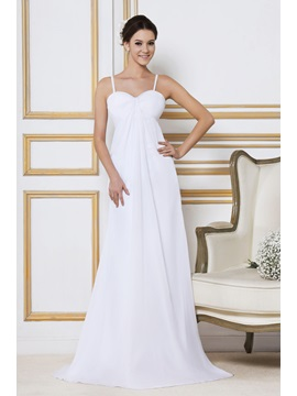 Elegant A Line Empire Spagetti Straps Sweep Train Beach Sandra's Wedding Dress