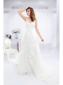 Pretty Empire V-Neck Floor-length Chapel Tulle Anita's Wedding Dress (3AB0009)