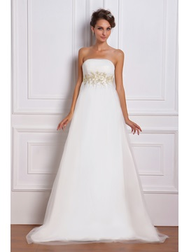 Elegant Empire Strapless Floor-Length Chapel Appliques Miriama's Wedding Dress