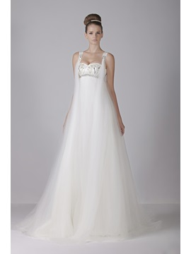 Glamorous Sweetheart Empire Floor-Length Tulle Watteau Train Aleksander's Wedding Dress