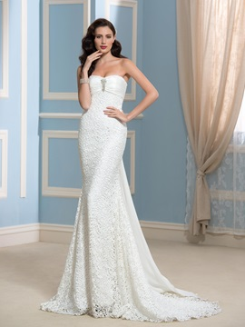 Strapless Sheath Watteau Train Lace Wedding Dress