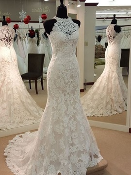 Classic Jewel Neck Appliques Sheath Wedding Dress