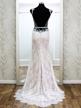 Open Back Lace Sheath Sweep Train Wedding Dress