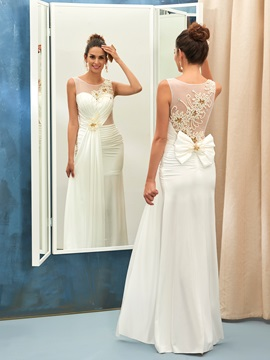 Charming Jewel Neck Beaded Sheath Wedding Dress