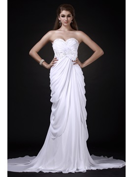 Fabulous Floor-Length Empire Sweetheart Chapel Flower Roxy's Wedding Dress