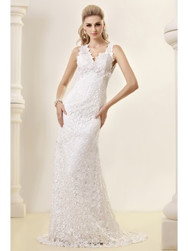 Amazing Sheath/Column V-neck Court Backless Lace Dasha's Wedding Dress