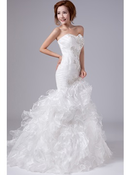 Mermaid Strapless Floor-Length Appliques Wedding Dress