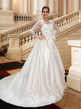 Jewel Neck Bowknot A-Line Long Sleeve Wedding Dress