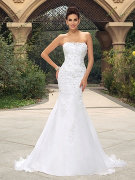 Strapless Beaded Appliques Trumpet/Mermaid Wedding Dress
