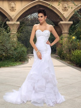 Great Beaded Appliques Mermaid Ruffles Organza White Wedding Dress