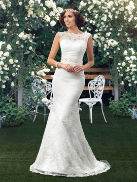 Glorious Bateau Neck Floor Length Mermaid Lace Wedding Dress