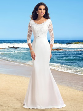 Elegant Scoop Neck Lace Long Sleeve Mermaid White Wedding Dress