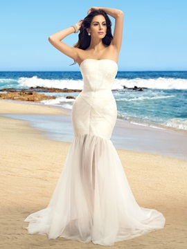 Simple Style Strapless Floor Length Ivory Beach Wedding Dress