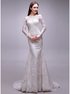 Eye-catching Bateau Neck Long Sleeve Mermaid Lace Wedding Dress