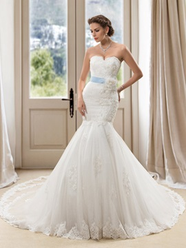 Sweetheart Floral Mermaid Wedding Dress with Satin Sash