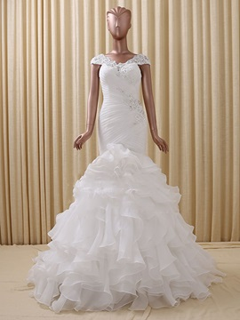 Floor Length Trumpet Ruffles Organza Color Wedding Dress