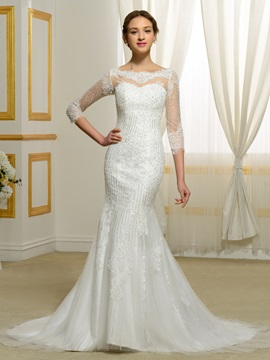 Beading Lace Appliques 3/4 Sleeves Mermaid Wedding Dress
