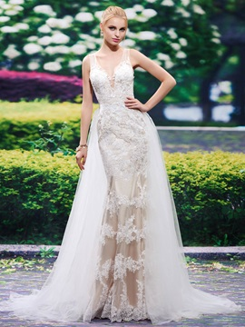 Beautiful V Neck Appliques Lace Mermaid Wedding Dress