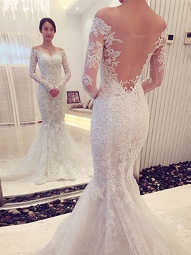 Charming Off The Shoulder Backless Lace Mermaid Wedding Dress
