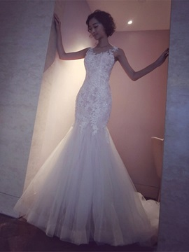 Charming Scoop Beaded Appliques Mermaid Wedding Dress