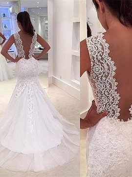 V Neck Backless Appliques Lace Mermaid Wedding Dress